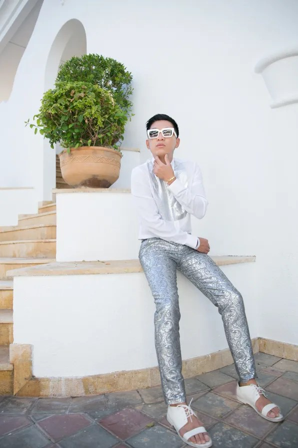 Bryanboy in a white and silver Maison Martin Margiela shirt in Morocco