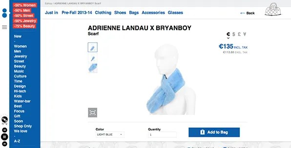 Bryanboy x Adrienne Landau Rabbit pull-through scarf at Colette Paris