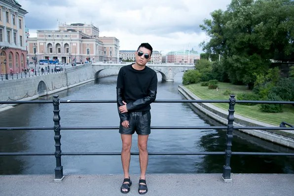 Black Kris van Assche sandals worn by Bryanboy in Stockholm