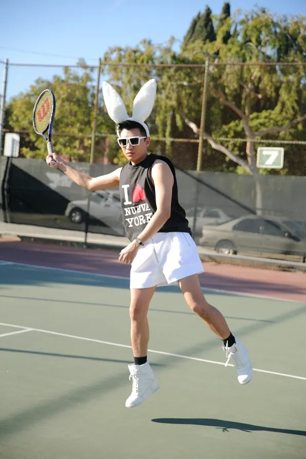 Bryanboy playing tennis in Los Angeles