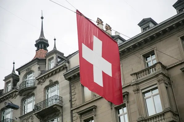 Swiss flag in Zurich, Switzerland
