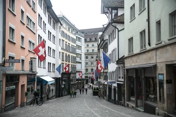 Swiss flags in city center, Zurich