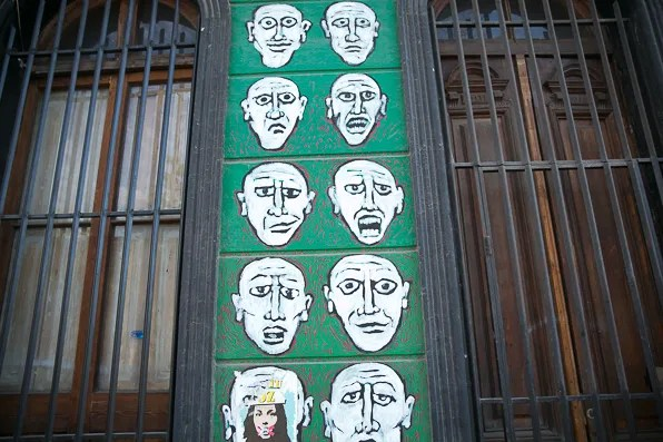 Art on a building walls at Bella Vista, Santiago