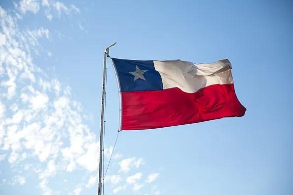 Flag of Chile on top of Cerro San Cristobal