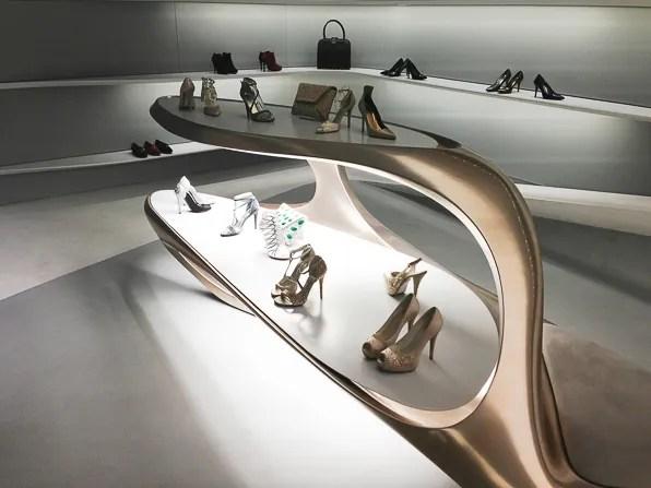 Zaha Hadid designed Stuart Weitzman Via Sant' Andrea Milan boutique