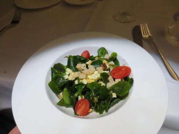 Swiss First Class from Zurich to Bangkok salad