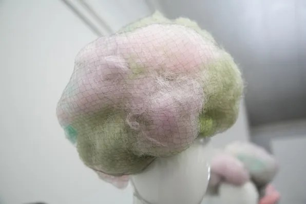 Cotton candy pastel wig with black fishnet