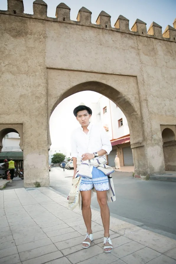 Bryanboy wearing Suno spring/summer 2013 shorts in Rabat, Morocco