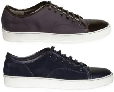 Lanvin sneakers with patent leather toe detail.