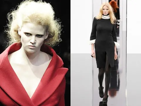 Lara Stone at Prada Fall 2009 and Chanel Fall 2009