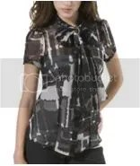 Express patterned tie-neck blouse