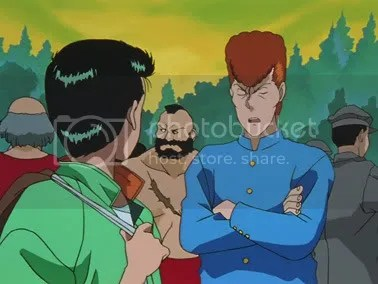 Yusuke e Kuwabara, com Zangief ao fundo