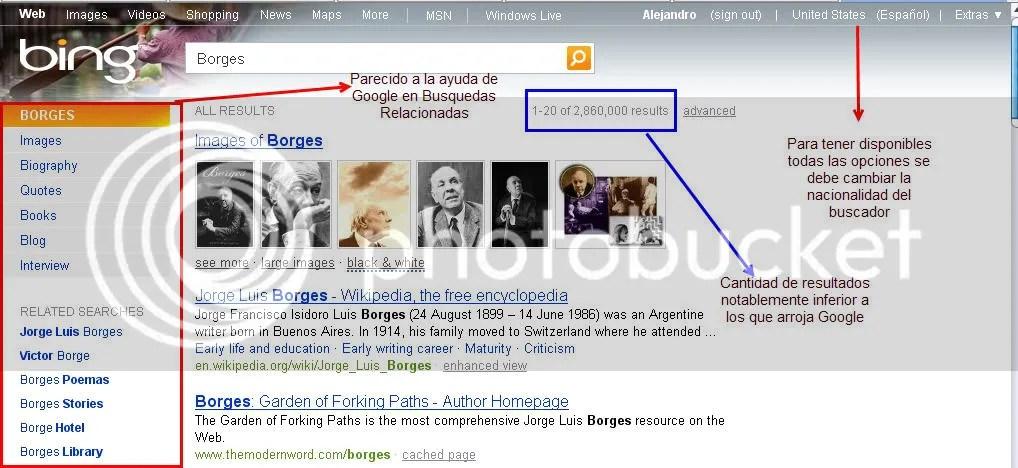 Búsqueda de Borges en Bing