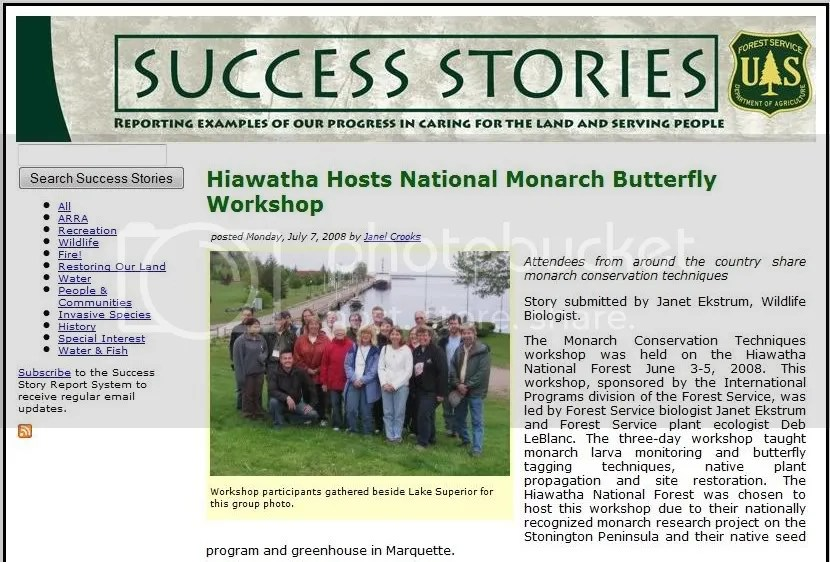 U.S. Forest Service success story,USFS,United States Forest Service,U.S. Department of Agriculture,Monarch,butterfly,butterflies,Marquette,Michigan,National Monarch Butterfly Workshop,Hiawatha National Forest,forest,botanist,botany,Deb LeBlanc,Deb Le Blanc,Terry Miller,plug,Escanaba