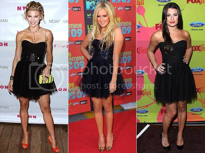 fashion,who wore it better,ashley tisdale,lea michelle,glee,90210,high school musical,black tulle dress,short black dress