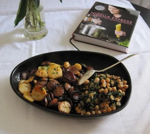 Chorizo and scallops
