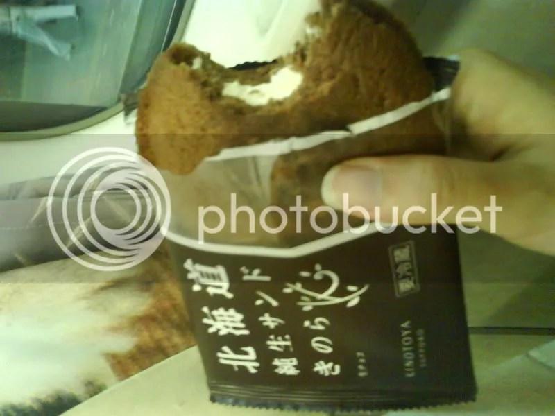 Chocolate sponge with nama chocolate and fresh cream inside!