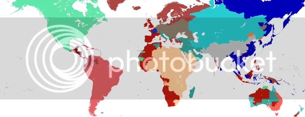 World map, 1908.