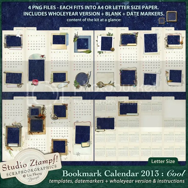 Ztampf! COOL Bookmark Calendar 2013 - Letter