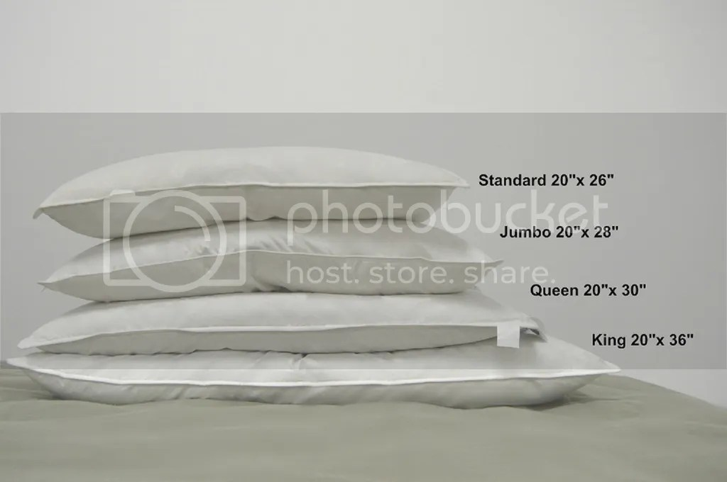 what are the different bed pillow sizes