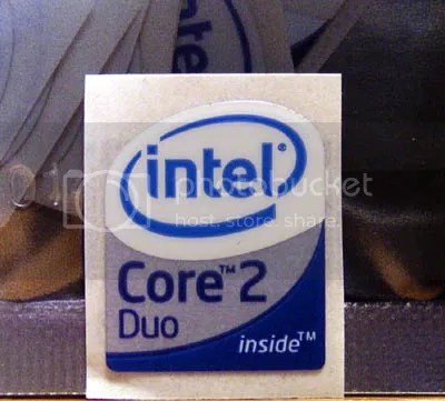 Intel Core 2 Duo Inside part of bottom half has METALLIC shiny background 19mm x 23mm