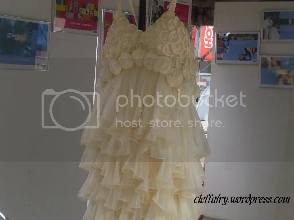 A close up of the condom dress.