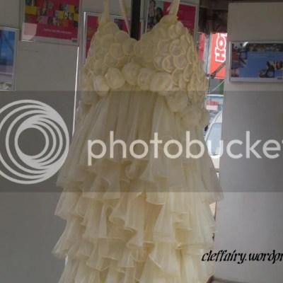 A close up of the condom dress.