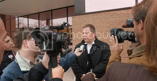 York Region counsel Dan Kuzmyk got what he asked for by way of sentencing for raw milk farmer Michael Schmidt. This picture is from October 20th 2008, outside the Newmarket courthouse immediately after Justice Boswell handed down his verdict finding Mr. Schmidt guilty of contempt.