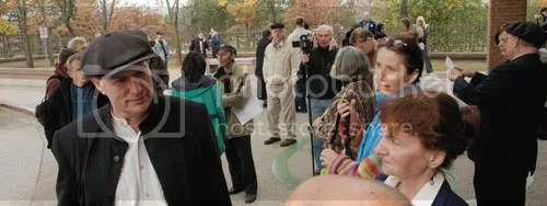 Raw milk champion Michael Schmidt greets supporters outside the Ontario Superior Court of Justice, October 2008. Final submissions and judgement is still pending on 20 charges.