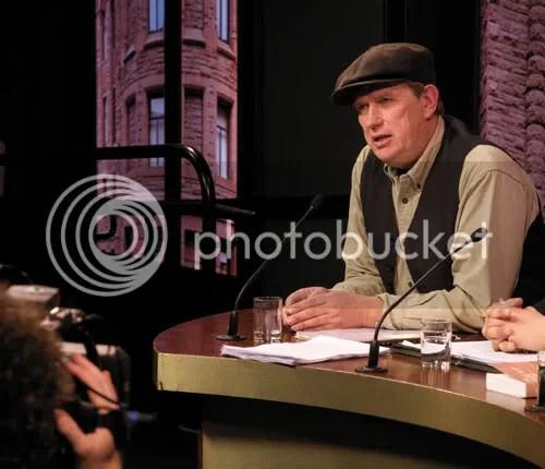 Farmer Michael Schmidt addresses the media at Queens Park