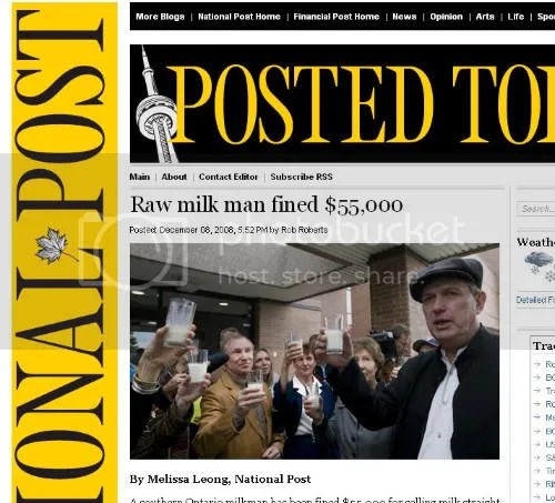 Michael Schmidt raises a toast of raw milk with supporters on the National Post website.