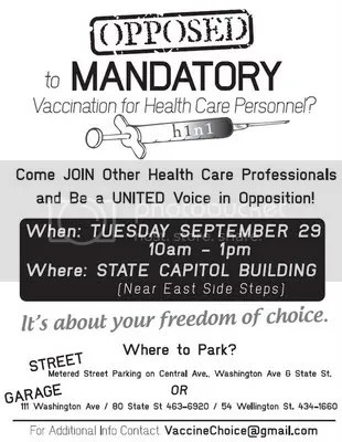 Poster from health professional vaccine resisters, New York city, 2009