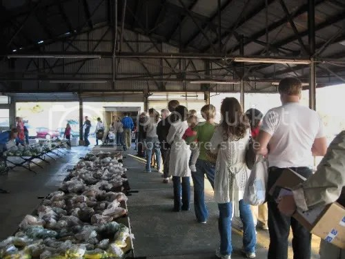 customers line up to buy local food from a coop in Athens Georgia