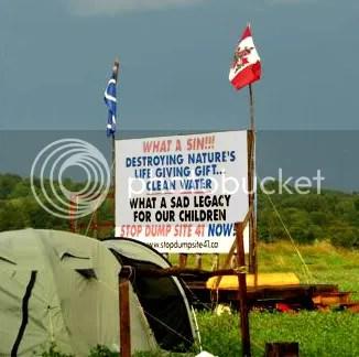Native camp near protest site