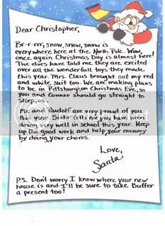Sample Letter from Santa