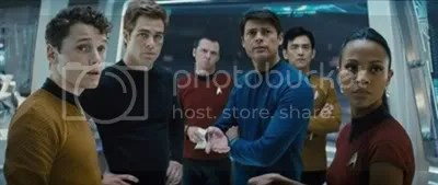 Star Trek crew on the deck of the USS Enterprise - Star Trek movie