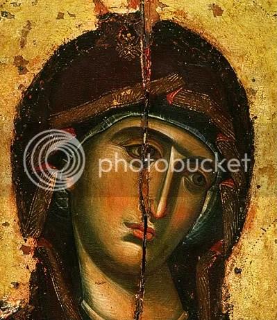Η Παναγία ολόσωμη. Λεπτομέρεια. Εικόνα της ΙΜΜ Βατοπαιδίου