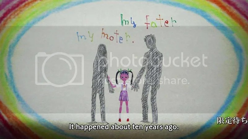 (Please ignore the scrolling announcement text). That Mayoi puppet thing really freaks me out.