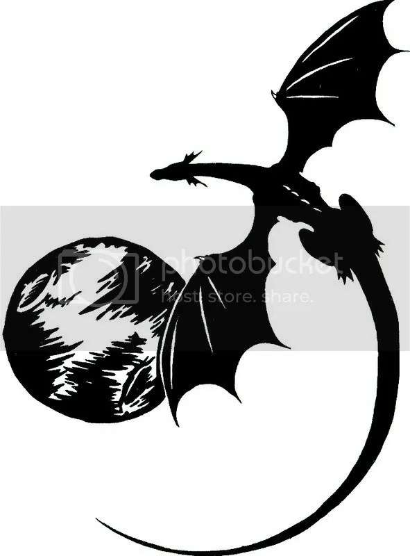 Dragon Flying Around Moon Tattoo Design