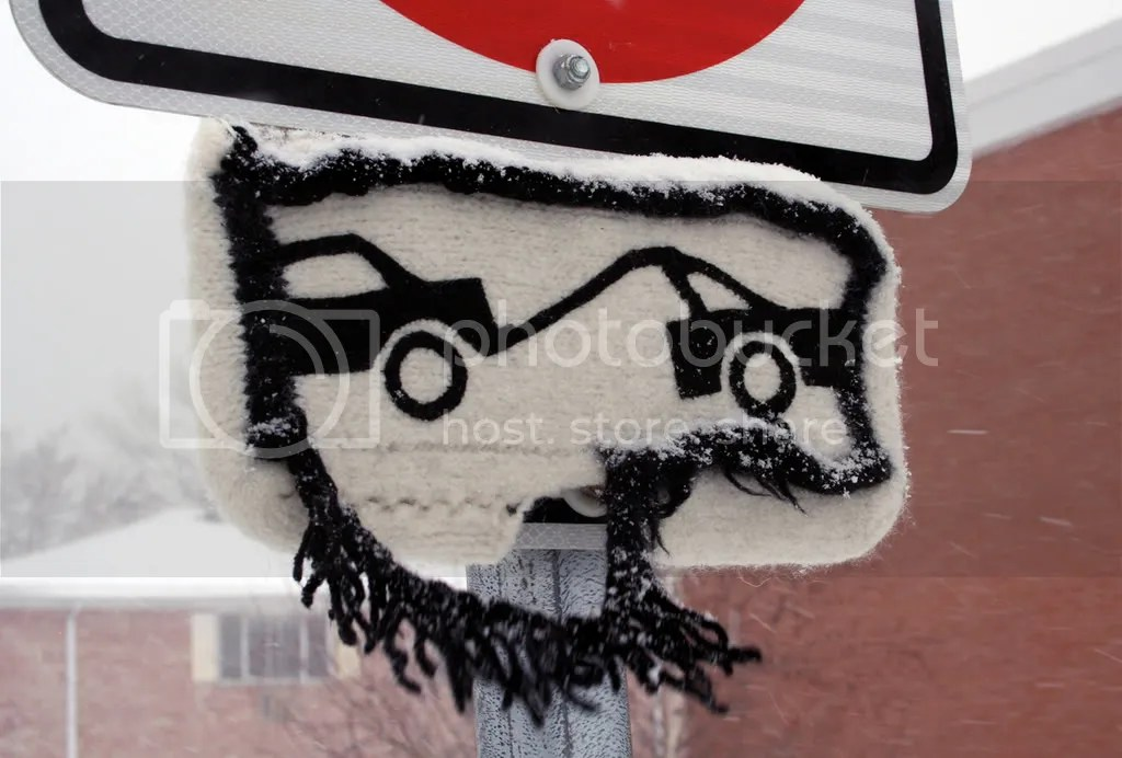 snow day for the towing sign