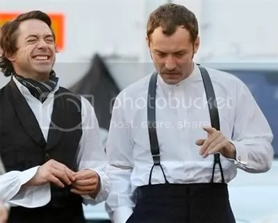 Robert Downey Jr. And Jude Lawon the set of Sherlock Holmes in London