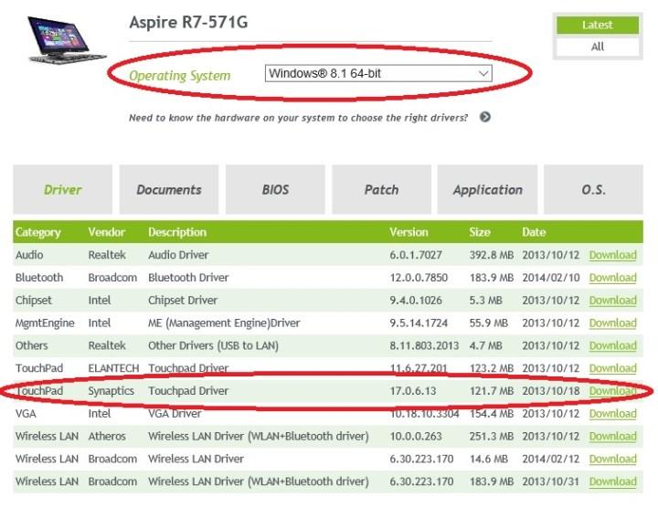 Acer R7 Win 10 Keyboard