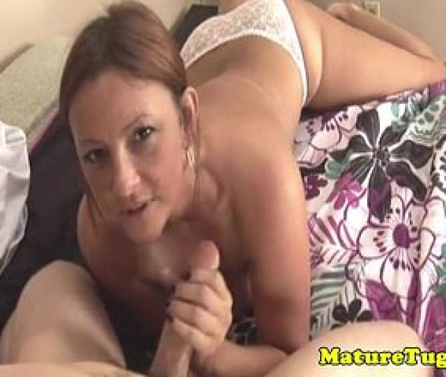 Mature Redhead Tugging Cock On Homemade Tape