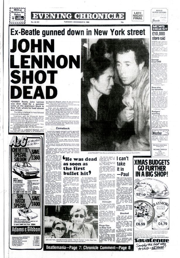 The Chronicle's front-page coverage of the murder of John Lennon, December 9, 1980