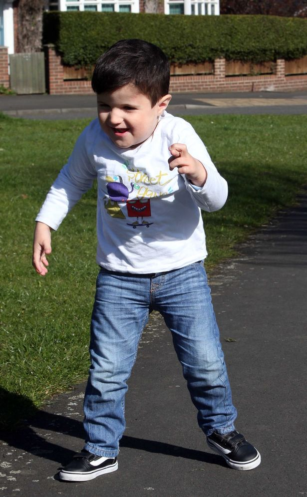 Little Mason Graham 3, who was able to walk in 4 weeks after being helped by Dr Jonathan O'Malley. Mason suffers from a rare disability called 1P36 Syndrome and could only crawl prior to this