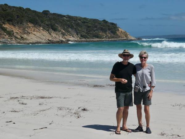 Ron and Anke Cowan by beach
