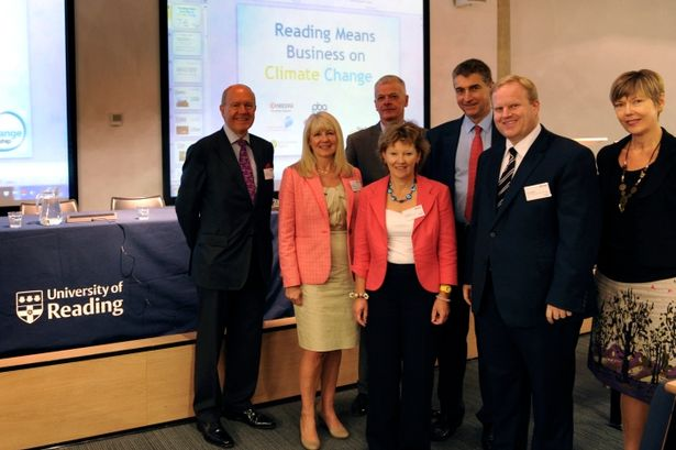 Michael Sippett, RCCP chair Sally Coble, Sir David Bell, Sue Reeves from Biscotti Gold, Councillor Tony Page, BT head of energy and carbon strategy Scott Balloch, and Tracey Rawling Church from Kyocera