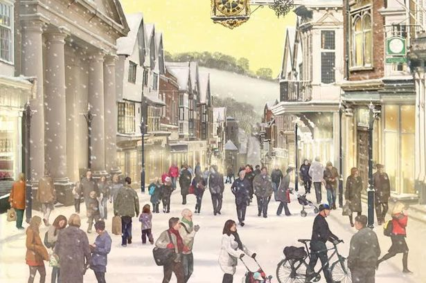 Christmas Cards Featuring A Snowy Guildford Street Scene