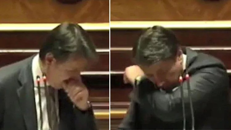 İtalya Başbakanı Conte'nin öksürük krizine 'Maske tak' yansısı 1