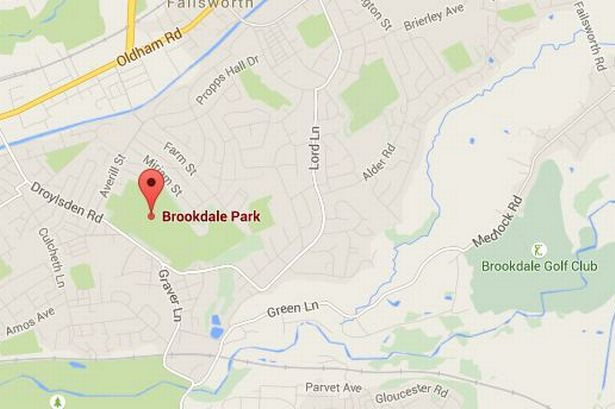 Map of Brookdale Park in Newton Heath where a man grabbed a young girl